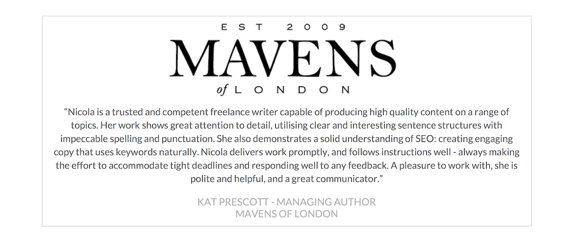 Mavens of London Testimonial